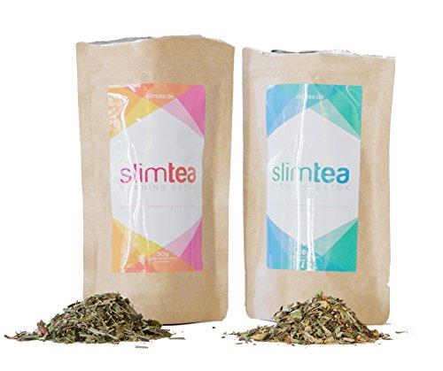 Slimtea Detox Tee 18-Tage-Kur   Natürlich Entgiften & Entschlacken mit Tee   Optimale Ergänzung zu Diäten