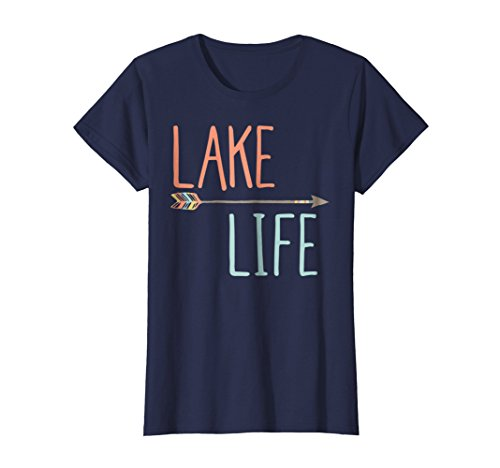 Womens Summer Lake Life Shirt Lake Shirt Large Navy (Girl Lake)