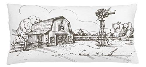 (Ambesonne Windmill Throw Pillow Cushion Cover, Rustic Barn Farmhouse Hand Drawn Illustration Countryside Rural Meadow, Decorative Accent Pillow Case, 36 X 16 Inches, Dark Brown and White)
