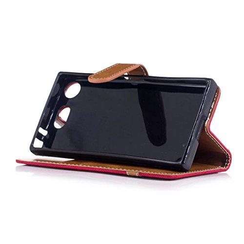 COWX Xperia XZ1 Compact Hülle Kunstleder Tasche Flip im Bookstyle Klapphülle mit Weiche Silikon Handyhalter PU Lederhülle für Sony Xperia XZ1 Compact Tasche Brieftasche Schutzhülle für Sony Xperia XZ1