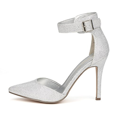 Ankle Shoes Pointed SILVER Women's DREAM Stiletto ANKLE Heel OPPOINTED Pumps High Toe ANKLE OPPOINTED D'Orsay Strap GLITTER PAIRS SqUq4wBg