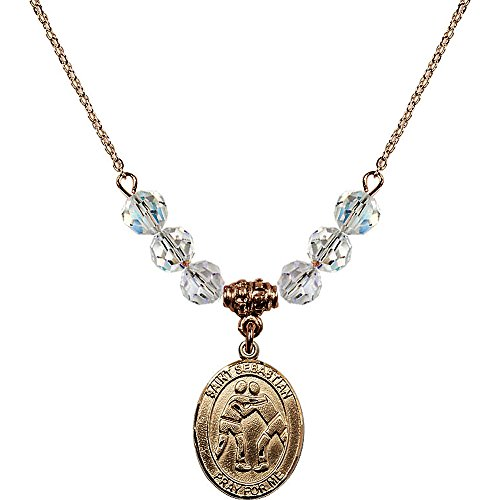 18-Inch Hamilton Gold Plated Necklace with 6mm White April Birth Month Stone Beads and Saint Sebastian/Wrestling Charm by Bonyak Jewelry