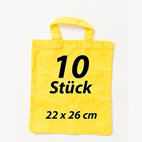 Farmacia funda 22 x 26 cm yute Bolsa Funda de algodón bolsa de tela amarillo 2 Corto Asa (10 piezas): Amazon.es: Hogar