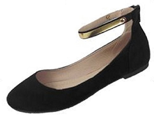 Shoes 18 Womens Microsuede Ballet Flat Shoes W/ Metallic Ankle Strap (9/10, 5105 Black/Gold)