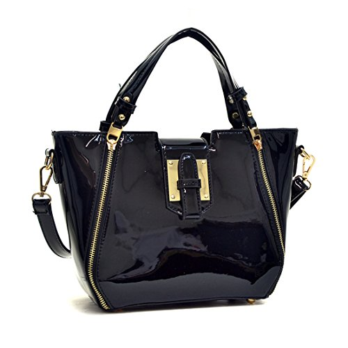 Dasein Fashion Designer Faux Leather Satchel Handbag Tote Shoulder Bag Purse For Women with Strap - Leather And Patent Leather Tote Bag
