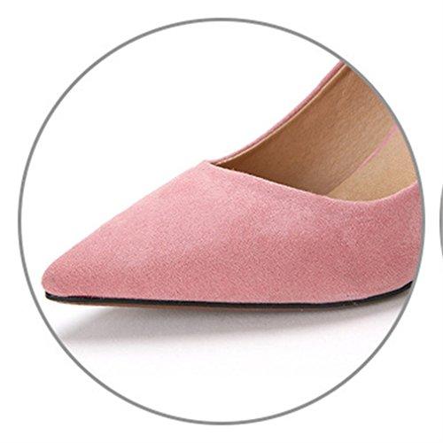 punta de Rosa sólido Toe tacones s gamuza bombas sexy Xianshu zapato ' de color Women q6w7Wv0