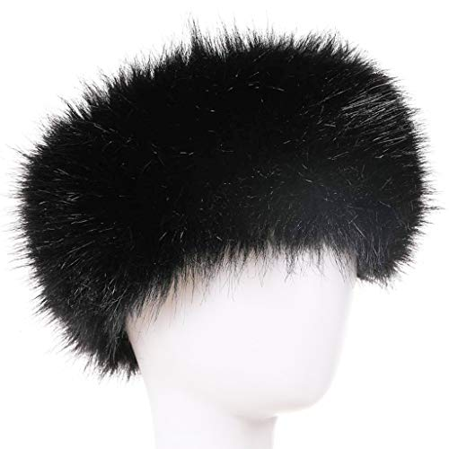 FAITH YN Faux Fur Headband with Elastic Stretch Women Fur Hat Winter Ear Warmer Earmuff Ski Cold Weather Caps [Black]