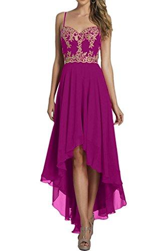 Kurz Linie Brautjungfernkleider Braut Marie Ballkleider Elegant Wadenlang A Pink lo Hi Abendkleider La Chiffon 7Xqwg0