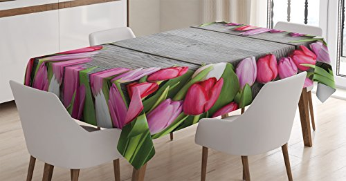Ambesonne Love Decor Tablecloth, Frame of Fresh Tulips Arranged on Wooden Table Country Nature Valentines Print, Dining Room Kitchen Rectangular Table Cover, 60 X 90 Inches,