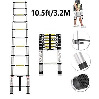 3.2m Portable Heavy Duty Multi-Purpose Aluminium Telescopic Ladder Extendable UK