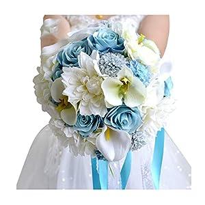 Wedding Flowers Bridal Bouquet Blue Color Roses Bouquet Wedding Accessories Artificial Flower Bouquets for Wedding 113
