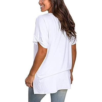 SAMPEEL Women's V Neck T Shirt Rolled Sleeve Side Split Tunic Tops at Women's Clothing store