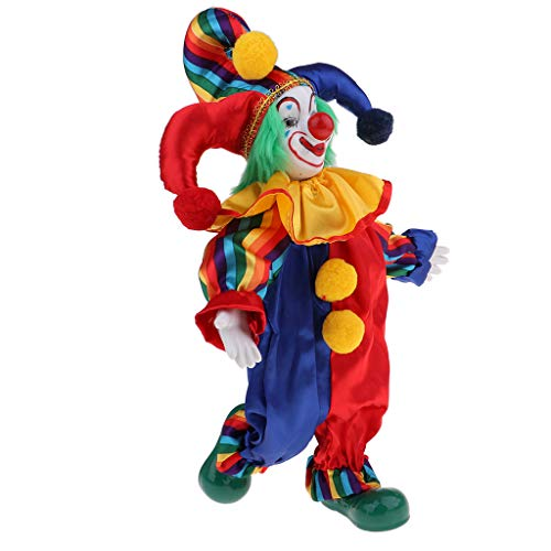 Prettyia 38cm Lovely Smiling Porcelain Clown Doll for Kids Birthday Gifts Halloween Christmas Table Decoration #1 ()