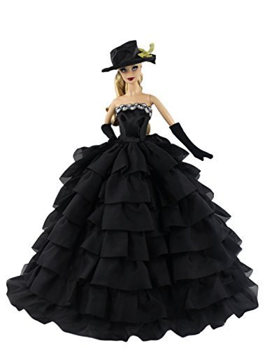 Black Fashion Clothes Dess+gloves+hat for Barbie Doll - Barbie Gloves