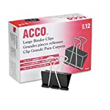 Large Binder Clips, Steel Wire, 1 1/16'' Capacity, 2''w, Black/Silver, Dozen by ACCO Brands