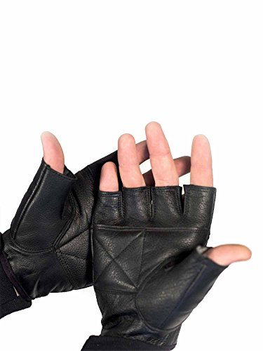 Street Riding Gloves (RoadDog Motorcycle Street Black Shorty Leather Gloves Unisex Riding Glove Medium)