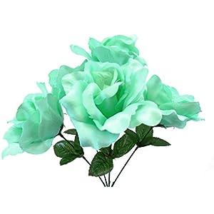 "Phoenix Silk 4 Bushes Mint Jumbo Open Rose Artificial Satin Flowers 15"" Bouquet 5-609 MT 24"