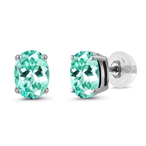 1.64 Ct Oval 7x5mm Blue Apatite 14K White Gold Stud Basket Setting (Apatite Oval Earrings)