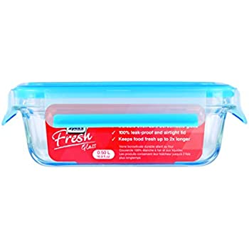 """Zyliss """"Fresh"""" Glass Food Storage Container with Snap Locking Lid – 100% Leak Proof Airtight - Rectangle 16.9 oz"""