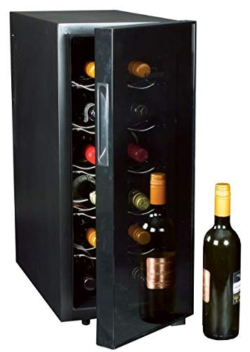 Koolatron WC12 Thermoelectric 12-bottle Slim Countertop Wine Cellar, Double-tempered Glass Door, Adjustable Temperature Control, Thermoelectric Cooling, Removable Shelves, Black INC