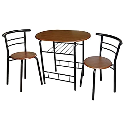 Target Marketing Systems 3-Piece Bistro Dining Set, Espresso - Finish: Black/Espresso Table features a lower shelf The chairs nest under the table - kitchen-dining-room-furniture, kitchen-dining-room, dining-sets - 41tJBqdz3OL. SS400  -