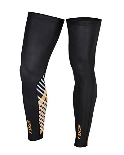 2XU Unisex Cycle Leg Warmers Black/Criss Cross Orange M & Headband Bundle by 2XU, USA