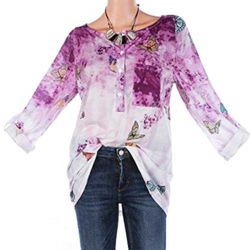 Todaies Women Plus Size Blouse Floral Print Button Long Sleeve Blouse Pullover Tops Shirt -