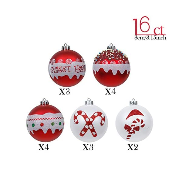 Valery Madelyn Palle di Natale 16 Pezzi 8cm Palline di Natale, Dolci Caramelle Rosse e Bianche Infrangibili Decorazioni per Palle di Natale per Decorazioni per Alberi di Natale 3 spesavip