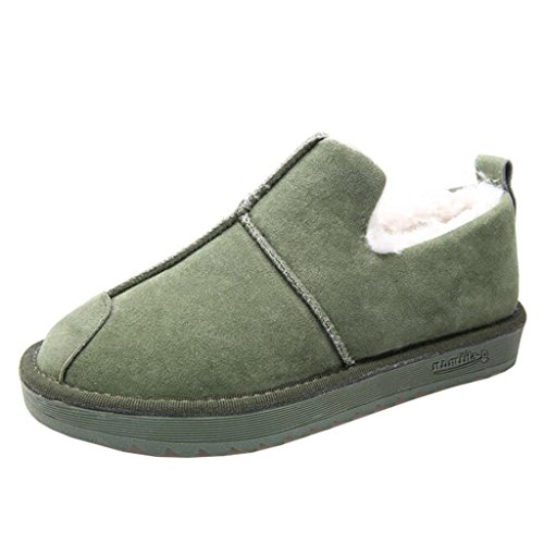 Binying Women's Round-Toe Flat Slip-on Fur Snow Boots Green zwMLwWuuRq