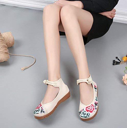 Fuxitoggo Bestickte Schuhe Sehnensohle Ethno-Stil weibliche Stoffschuhe Mode bequem lässig in der Erhöhung Meter weiß 38 (Farbe   - Größe   -)