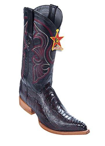 Black Cherry Ostrich Leg (Los Altos Men's 3X-Toe Black Cherry Genuine Leather Ostrich Leg Skin Western Boots)