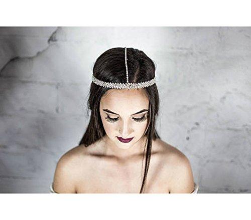 Amazon Com Head Chain Forehead Headpiece Bridal Prom Wedding