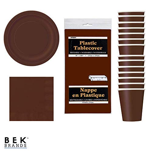 Bek Brands Party Bundle Tableware Solid Color Plates Napkins Cups and Tablecover - 51 pcs! (Brown) -