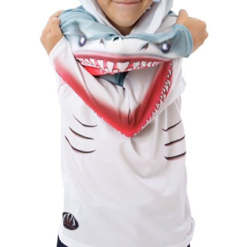 Price comparison product image MouthMan Unisex-Child Shark Hoodie Shirt White 10