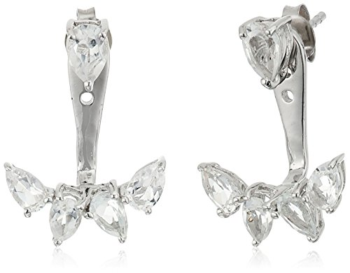 Marquis Earring Settings - Sterling Silver White Topaz Marquis Earring Jackets