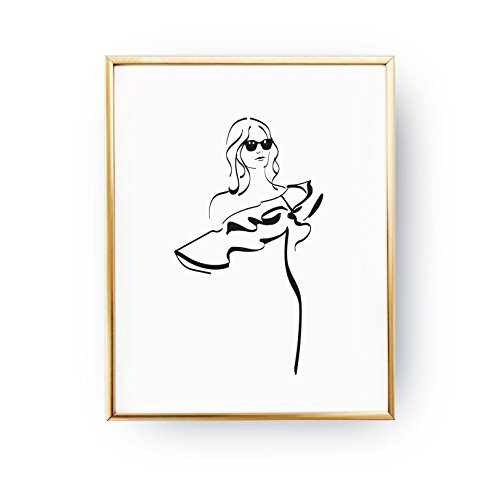 Wave Blouse Print, Glamour Woman, Fashion Poster, Fashion Illustration, Wardrobe Art, Illustration Poster, Home Decor, Woman Art, (Glamour Print Blouse)