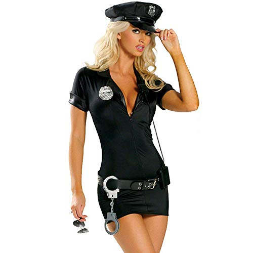 Neilyoshop Women Sexy Police Costume Adult Halloween Cop Uniform Outfit M Black