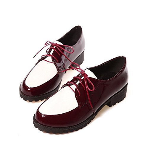 VogueZone009 Women's Assorted Color PU Low Heels Closed Toe Lace up Pumps-Shoes Red 9IHpoC