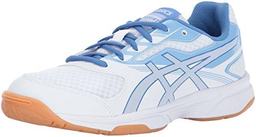 ASICS Womens Upcourt 2 Volleyball Shoe, White/Regatta Airly Blue, 6.5 Medium US