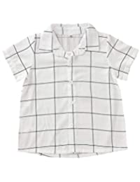 DPSKY Toddler Baby Boys Casual Western Plaid Short Sleeve Button-Up Shirt Summer Clothes Outfits