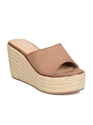 314c2728fe5 Betani Women Faux Suede Open Toe Single Band Espadrille Platform Wedge  Sandal GC00