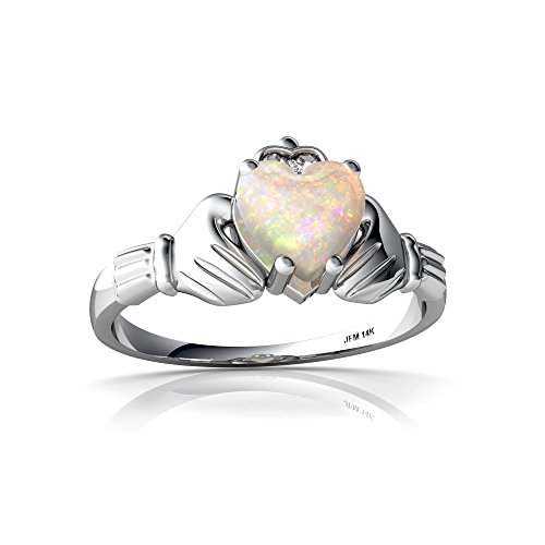 14kt White Gold Opal and Diamond 6mm Heart Claddagh Ring - Size 6.5