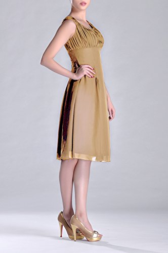 of Brides Dress Formal Knee Goldfarben Special Mother Length Pleated Occasion Bridesmaid the W8TYcFZF