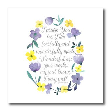 3dRose Noonday Design - Floral - Fearfully and Wonderfully Made Scripture with Watercolor Flowers - 6x6 Iron on Heat Transfer for White Material (ht_281734_2)]()