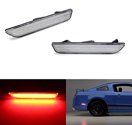 - iJDMTOY Clear Lens Red Full LED Rear Side Marker Light Kit For 2010-14 Ford Mustang, Powered by 45-SMD LED, Replace OEM Back Sidemarker Lamps