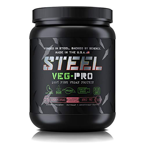 Steel Supplements Veg-PRO Vegetable Pea Protein Isolate Powder Supplement Natural Organic Vegan 1.5 Pounds (Strawberry Cheesecake)