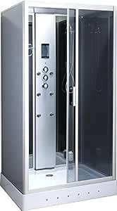 Mampara de ducha de hidromasaje baya 110 x 90 cm, diseño de cabina de ducha rectangular de luz interior full optional modelo lujo radio italia Garantía 2 años: Amazon.es: Hogar