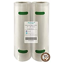 "Ronegye Vacuum Sealer Bags Rolls for Food Preservation with Double-Sided Texture Channels, Reusable, BPA Free, Commercial Grade, 2 Rolls of Each Size: 8"" x 16' (Total 32 Feet) (Clear)."