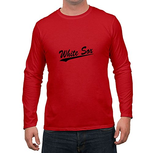 Custom White Sox Red Men Organic Cotton Top Clothing Fitted Funny Large T-shirt (T-shirt Mens Organic Bowling)
