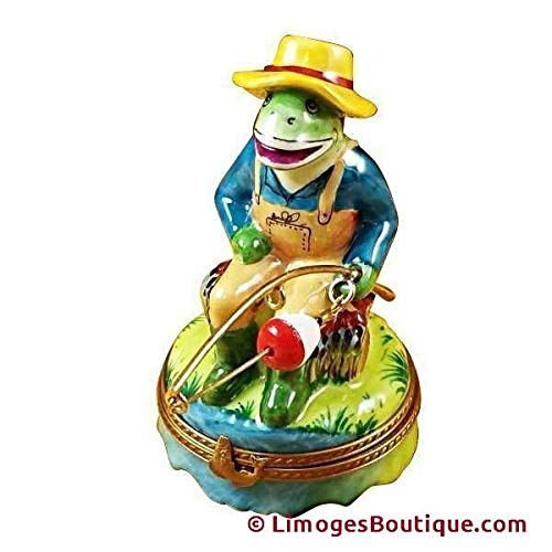 FROG FISHING - LIMOGES PORCELAIN FIGURINE BOXES AUTHENTIC IMPORTS ()